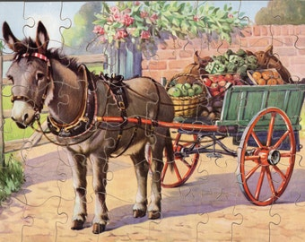 Vintage 48 Piece Plywood Wooden Jigsaw Puzzle Donkey with Cart by Victory