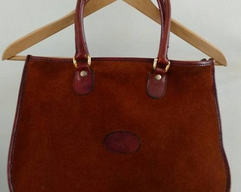 Vintage/Chestnut Brown Suede And Leather Handbag/ Purse