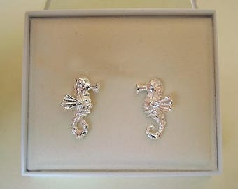 Seahorse Sterling Silver Or 9ct Gold Studs