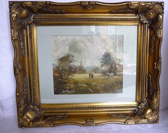 "Original Oil Painting - 1940s H Taylor -Ponies in the Pasture  - Gilt Frame 13 1/4"" x 11 1/2"""