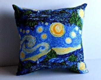 Vincent van Gogh Starry Night Print Pillow. Ready to ship.