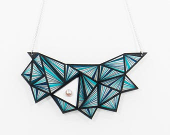 Necklace plastron - Necklace - Plastron - Big necklace - Graphic necklace - Geometrical necklace - Necklace leather - Kathleen Bellonde