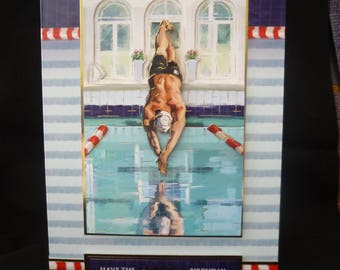 Large 3d Decoupage  'Have the Happiest Birthday' Male Swimmer Card -  Handcrafted in UK -Swimmer diving into a pool