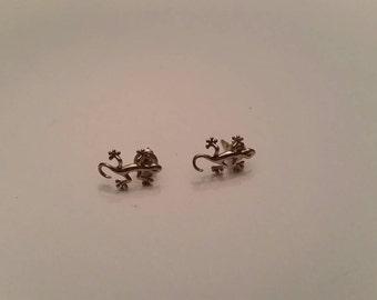Sterling Silver Gecko  Sterling Earrings