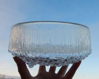 Scandinavian Vintage IIttala Finland Ultima Thule Glass Bowl Big Bowl Footed Bowl Designed by Tapio Wirkkala 1968  Finnish Art Glass