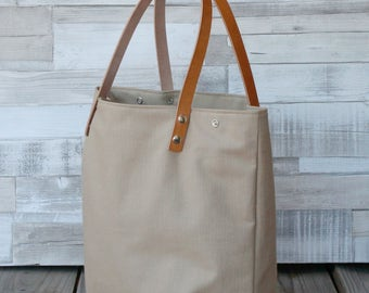 Maxibag - Shopping bag - Sand - Shoulder Maxi bag, handmade in canvas, with removable leather straps