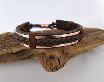 Braided Leather and Copper Bracelet, Men's Leather and Copper Bracelet, Mens Leather Bracelet, Mens Copper Bracelet, ColeTaylorDesigns