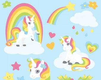 Rainbow Unicorn Clipart Set - High resolution PNG Files - 30 clipart illustrations