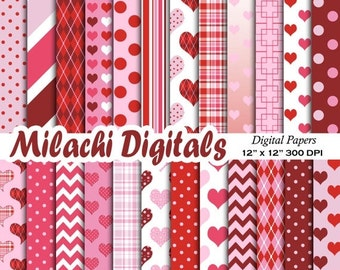 60% OFF SALE Valentine digital paper, valentine's day scrapbook papers, hearts wallpaper, heart background - M465