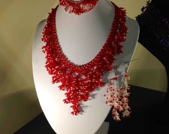 Red and White Beaded Necklace, Bracelet, and Earrings