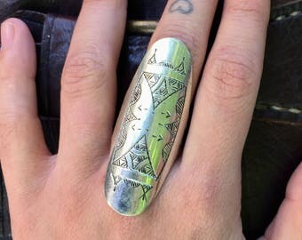 Size 9, knuckle ring, armor ring, tribal ring, gypsy ring, mandala ring, butterfly ring, silver ring, engraved ring, ethnic ring tribal ring