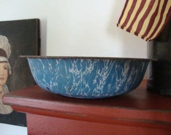 Blue Swirl Granite Bowl - A