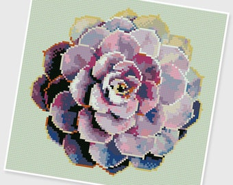 PDF Cross Stitch pattern - 0127 : Colorful Succulent - INSTANT DOWNLOAD