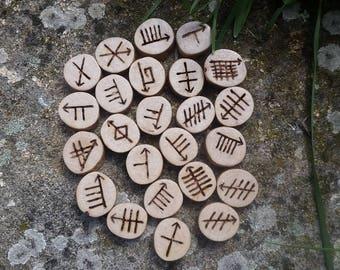 Blackthorn Ogham discs, Celtic ogham discs, ogham divination, divination tools; Celtic tree alphabet, Druid writings, sacred woods of wicca