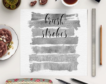 DEEP SILVER, Brush Strokes, Paint Brush Stains And Strokes, Silver Paint Smear Stroke Stain, Abstract Silver Glittering, BUY5FOR8
