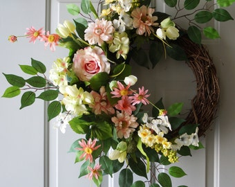 Spring Wreath, Large Designer Wreath, Unique hand made Door Wreath 26 in