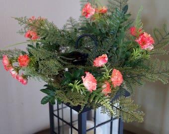 Orange Green Ferns Lantern Swag,Lamp Ring, Colorful  Flowers mini wreath