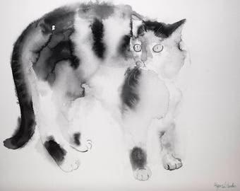 Black and white cat Little tuxedo cat, Cat Art, Tuxedo Cat, Original Art Cat, Original Watercolor Painting, Cat Lover Gift for Cat Lover