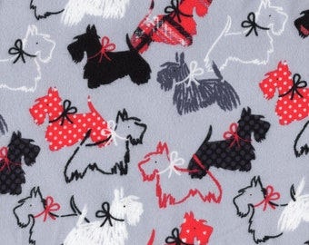 Scotty Dog Flannel Fabric, Cotton Flannel Fabric, Quilting fabric, By The Yard