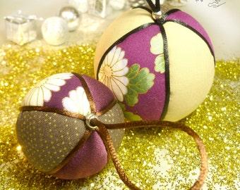 Patchwork Christmas tree balls pair [PL-009]