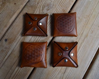 leather coin purse flower of life brown