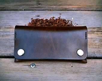 leather tobacco pouch dark brown