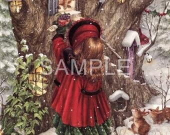 Fabric Art Quilt Block -  Christmas Visit - 16-118  FREE Shipping
