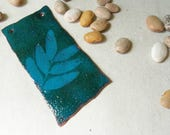 Torch fired enameled recycled copper artisan component-Leaves
