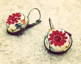 Handsculpted Red flower and red swarovski earrings, polymer clay earrings, colorful earrings, flower earrings