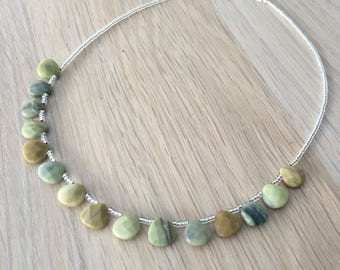 Butter Jade and sterling silver necklace