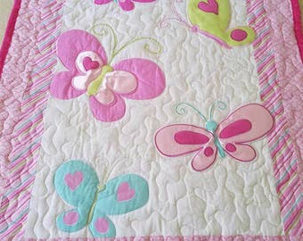 Handmade Butterfly Applique Baby/Toddler Quilt