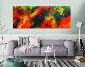 Original abstract artwork on canvas ready to hang 80x200cm #792