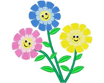 Smiling Flowers Machine Embroidery Design