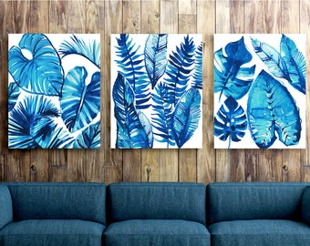 Floral Watercolor Leaf Print Jungle Theme Living Room Wall Art