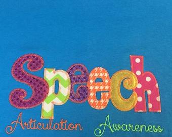 Speech Articulation Applique Blingy T-Shirt