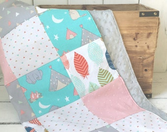 Forest Animal Baby Blanket, Feather Baby Bedding, Woodland Baby Bedding, Teal and Coral, Hedgehog Blanket, Gender Neutral Baby Blanket
