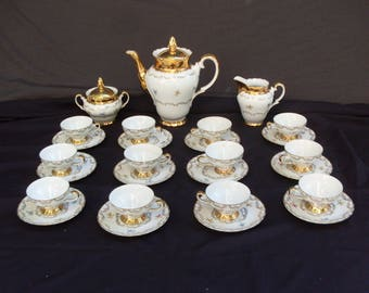 set da caffè e thè in porcellana, complete from 12 for tea caffè, tea party, complete caffè, porcelain Bavaria, designs and finishes in gold