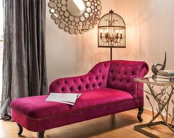 Chaise Lounge Sofa, Hand made with plum velvet material