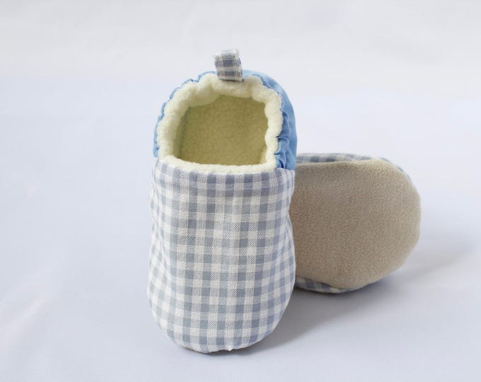 Baby blue gingham moccs, soft sole shoes, crib shoe