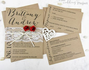 Wedding Invitation Set with Lace and Red Roses | Rustic Invitation Set, Custom Wedding Invitation, Kraft Invitation, Recycled Invitation