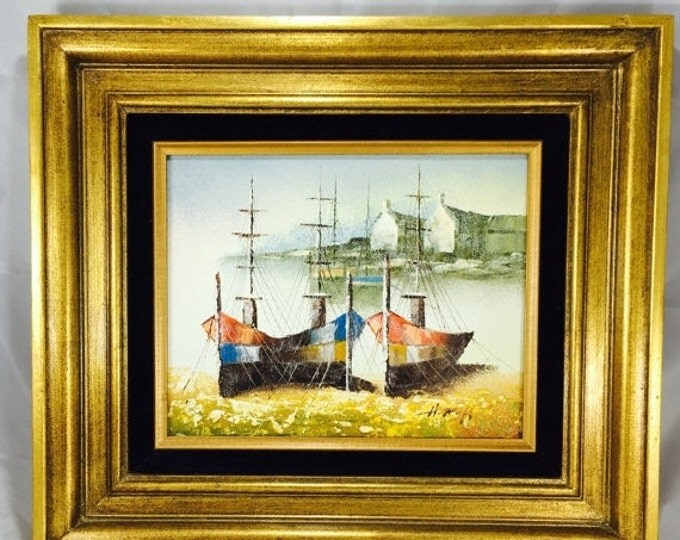 Storewide 25% Off SALE Original H. Ruff Seaside Harbor Acrylic on Canvas Painting Featuring Mid Century Golden Frame