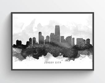 Jersey City Skyline Poster, Jersey City Cityscape, Jersey City Art, Jersey City Print,  Home Decor, Gift Idea, USNJJC11P