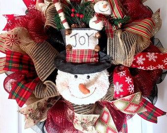 Limited quantities! Winter wreath, Snowman wreath, holiday wreath, Christmas wreath, Primitive winter wreath, rustic winter wreath,