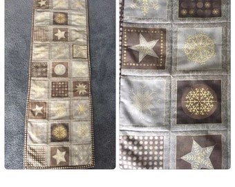 Brown & Gold Quilted Table Runner