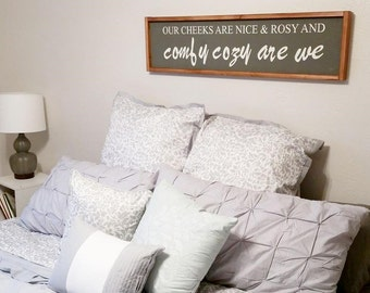 Comfy Cozy Are We Wood Sign {Customizable}