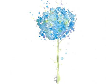 Blue Hydrangea Painting, Print of My Original Watercolour Painting, Watercolor Flower Painting, Nursery Art, Watercolor Art Print
