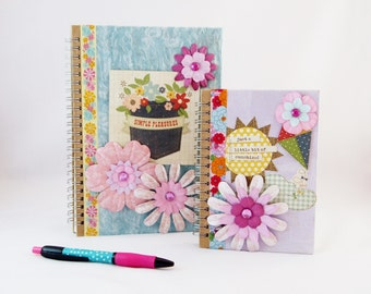 Notebook Set, Floral Notebook, Floral Note Pad, A5 NoteBook, Large Note Book, Purple Notebook, Gift For Her, Travel Notebook