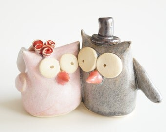 Owl Cake Topper, Wedding Cake Topper, Owl Couple, Ceramic Cake Topper, Bird Wedding Cake Topper, Cute Cake Topper