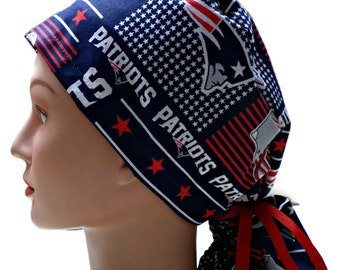 Women's Ponytail Style  Surgical Scrub Cap Hat  in New England Patriots Squares