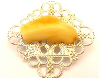 Amber Baltic Brooch White Butterscotch Stone Openwork Brass Silver Plated Handmade